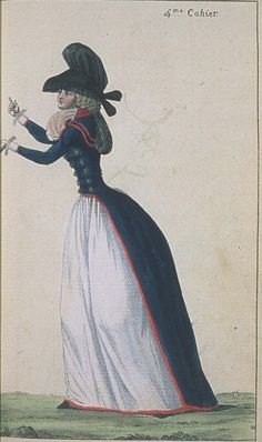 In this portait I want to point out the Redingote. The Redingote first was designed for men to wear while traveling on horses. However, shortly after it became a fashionable type of dress for women. It was very well fitted at the waist. Journal de la Mode et du Gout, April 1790.  Very pro-revolutionary redingote