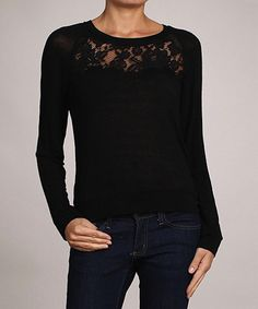 Loving this AudreyAnn Black Lace Top on #zulily! #zulilyfinds