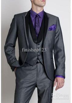 Wholesale Top selling Dark gray Suits Black Peak Lapel Groom Tuxedos Groomsmen Men Wedding Suits Prom Clothing (JacketPantsVestTie) BM:622, Free shipping, $120.45/Piece   DHgate @Sonia Williams Stiefel