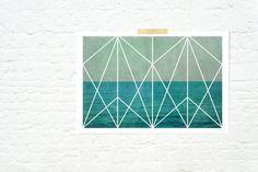 Geometric design Art nouveau ocean waves print nautical home decor turquoise - Deco Ocean. $30.00, via Etsy.