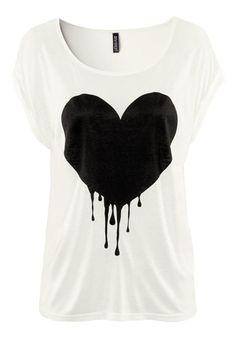 White Heart Print Short Sleeve Cotton T-Shirt