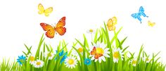 Grass Ground with Flowers and Butterflies PNG