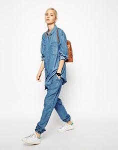 Agrandir ASOS WHITE - Pantalon de jogging en lyocell aspect jean