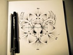 Dotwork mandala, deer skull by CBA