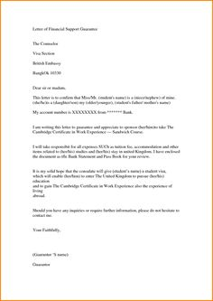 Sample Letter Of Financial Support Pdf Doc Page  Of   Letter