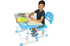 The House of Trade Height Adjustable Kids Desk and Chair Set Book Stand For Desk, Book Stands, Student Desks, School Desks, Large Storage Bins, Desk Riser, Kids Homework, Desk And Chair Set, Stationary School
