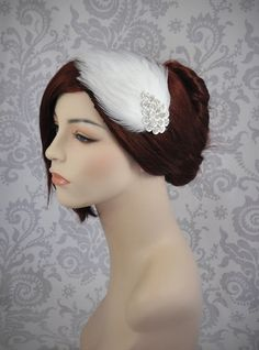 White Feather Fascinator  Ivory Feather hair by januaryrosebridal,