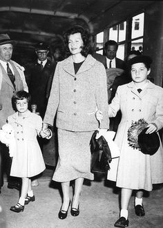 Rita Hayworth and her two daughters, Yasmin Khan and Rebecca Welles, arrive in France by ocean liner 'Queen Elizabeth' in order to visit Yasmin's father, Prince Aly Khan in Paris. October 4th, 1955