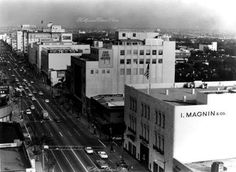 THE WESTSIDE | BEVERLY HILLS:  Wilshire Boulevard, Beverly Hills, facing east, ca 1965.  Notice the I. Magnin building only had three floors in this photo.  Eventually, two additional floors would be added, topped by a mansard roof.  Hollywood Historic Photos via Maria Mancini from vintage - los angeles - hollywood.