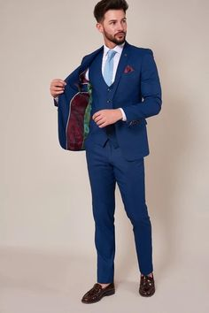 Click here to discover our collection of Men's 3 Piece Suits. Browse our vintage inspired designs in a variety of prints, colours & materials. Shop today! Classic Blue Suit, Classic Blues, Suit Shop, Man Shop, Blue Three Piece Suit, Mens 3 Piece Suits, Plain White Shirt, Blue Ties, Blazer Buttons
