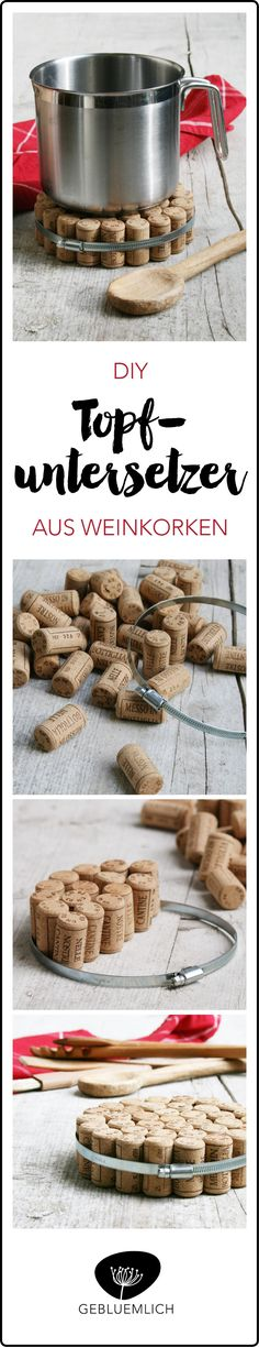 Upcycling-Idea. Wine corks and hose clamp.