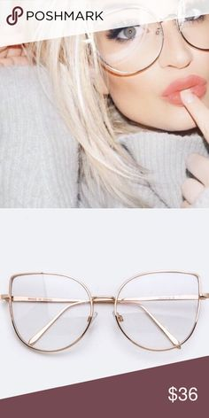 NEW • clear cat eye glasses gold oversized Clear lens gold frame- nwt! WILA Accessories Sunglasses