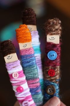 Craft Stick Yarn Dolls - Let your kids use up your yarn and wool scraps making these adorable homemade dolls.  Great for the doll house or for pretend play.  Super activity for strengthening fine-motor skills and co-ordination.  - Happy Hooligans
