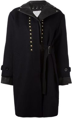 Sacai Studded Leather Trim Coat In Dark Blue Navy Wool Coat, Studded Leather, Real Leather, Blue Coats, Coats For Women, Mid Length, Sacai, Leather Coats, Clothes