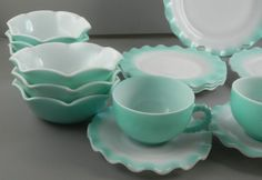 hazel atlas blue cinoline   Details about Hazel Atlas Crinoline Ripple Dishes Vintage 17 pc. Blue
