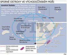 Sporné území ve Východočínském moři. Ilustrační mapka