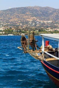 Picture of A fishing boat near the coast of Agios Nikolaos, Crete, Greece stock photo, images and stock photography. Greece Pictures, Greek Girl, Places In Greece, Visit Greece, Crete Greece, Dream Land, Albania, Fishing Boats, Bulgaria