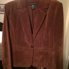 Sale! Genuine Leather suede blazer. Beautiful 100% suedeleather jacket with polyester lining. 2 pockets on front. Fitted cut. Size 12 runs small. New York & Company Jackets & Coats Blazers