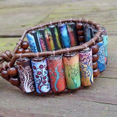 Tree of Life Cuff Bracelet - Brightly Colored Tree Graphics, Brown Leather Bracelet by ElectricPenguin on Etsy https://www.etsy.com/listing/90702574/tree-of-life-cuff-bracelet-brightly