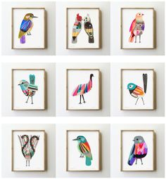 Possible prints for my home? My long sought after bird prints! Bird Drawings, Grafik Design, Art Design, Bird Prints, Bird Art, Collage Art, Art Lessons, Cool Art, Art Projects