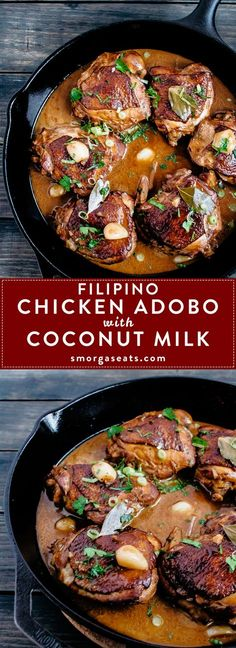 Filipino Chicken Adobo with Coconut Milk - Smorgaseats Source link Filipino Recipes, Asian Recipes, Healthy Recipes, Ethnic Recipes, Filipino Food, Chicken Adobo Filipino, Vegetarian Recipes, Scd Recipes, Recipies