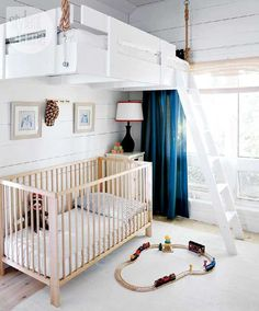 High hopes: A loft suspended over a crib is a space saver AND eye catcher! #nursery #kidsrooms