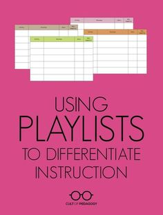 Using Playlists to Differentiate Instruction Want better differentiation Learn how to use this simple method for providing students with customized plans for working thro. Differentiated Instruction Strategies, Differentiation Strategies, Teaching Strategies, Teaching Tips, College Teaching, Ell Strategies, Teaching Music, Teaching Science, Instructional Coaching