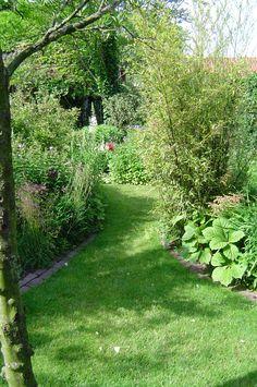 Lommerrijke tuin om in te dwalen. Grasveld loopt als pad tussen de borders.