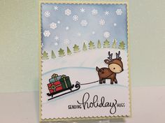 """Day five Holiday Style online card class - theme """"Cute & Whimsical."""" Lawn Fawn - Toboggan Together stamp and die set. I'm new to cut out critters and Copic markers...it was fun to make. #OCCHolidayStyle, #LawnFawn"""