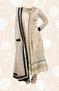 Ritu Kumar - An exquisite Chanderi Angarkha with Khadi print and light Ari embroidery. Lightweight and striking!