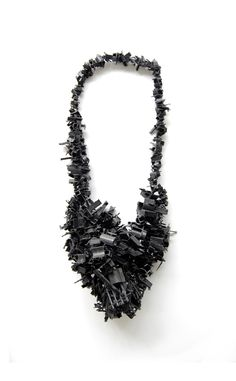 """Mixed Media Necklace made with """"imperfect"""" objects; contemporary jewellery art // Annika Pettersson"""