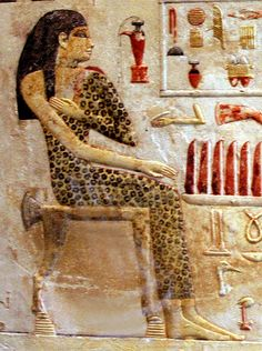 The en:Slab stela of Old Kingdom Egyptian princess Neferetiabet (dated 2590-2565 BC) from her tomb at Giza, painting on limestone, now in Louvre, France via Wikipedia.