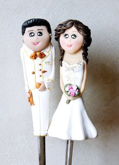 Customized Wedding Cake Topper And Forks Mexican Bride Groom Polymer Clay Decoration
