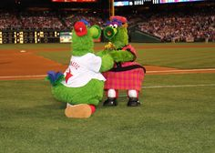 The Phillie Phanatic with his lovely mother, Phoebe Phanatic