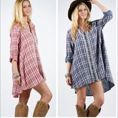 ALL ITEMS $25 Shirt dress features plaid pattern with lace trim.  Material is 100% algoon.  Small bust measures 38 inches, length in front 31 inches, back 37. Medium bust measures 42 inches, front length 31, back 37. Large bust measures 44. Front length 33, back 37.5. Price FIRM UNLESS BUNDLED. THIS LISTING IS FOR THE BLUE COLOR!!! Dresses Midi