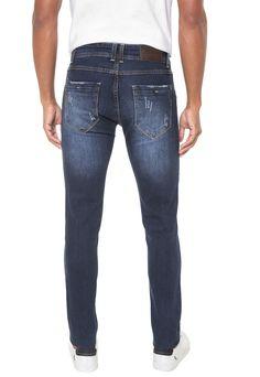 e302b8d7ca Calça Jeans Sawary Skinny Estonada Azul-marinho