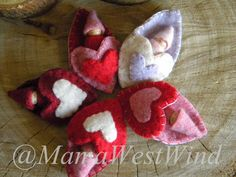 Waldorf Gnome Heart Pouch Pal Baby Gnome Peg Doll by MamaWestWind