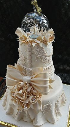 Two-tiered lace anniversary cake.