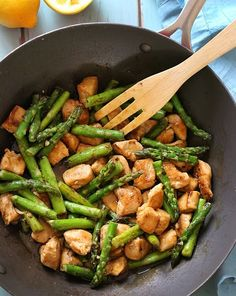 Lemon Garlic Chicken Asparagus Stir Fry