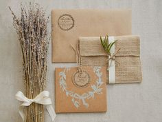 kraft, burlap, chalky stamp, dried flowers, ribbon