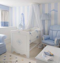 A besoke baby blue Dragons nursery