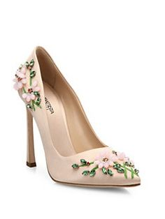Giambattista Valli - Floral-Embroidered Satin Pumps