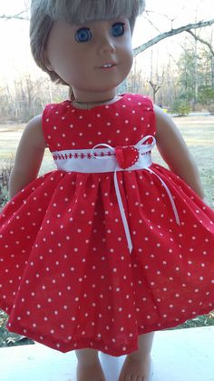 American Girl Doll Clothes Valentine Dress Red Polka Dots