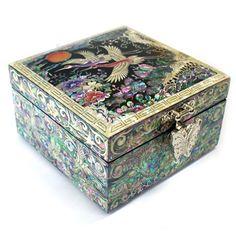 Korean mother of pearl inlay | ... box mother of pearl handcrafted Ten Symbols Of Longevity Design
