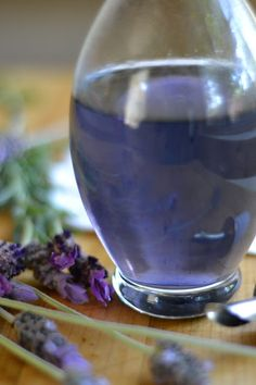 """How To Make Homemade Lavender and Rose Simple Syrups"" ~  When I went to Provence, I brought back some Lavender Syrup.  The French are big in putting these flavored syrups in water or Perrier.  I finally made some today.  I used fresh lavender which makes the syrup come out more clear and colorless which makes the violet food coloring give it the perfect color.  I add this syrup to my iced tea!  C'est Bon!"