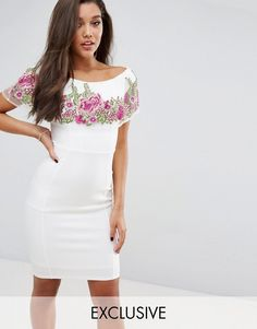 Lipsy Off Shoulder Embroidered Floral Overlay Bodycon Dress