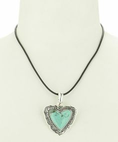 Look what I found on #zulily! Turquoise & Silver Heart Leather Pendant Necklace by Barse #zulilyfinds