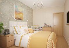 В спальне будет располагаться кроватка для малыша. Рядом разместился комод с детскими вещами.
