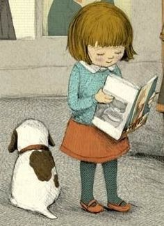 Girl with a book and her dog.