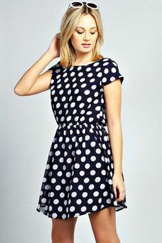 Jessica Polka Dot Elastic Waist Tea Dress at boohoo.com